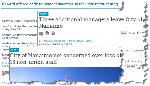headlines of Nanaimo staff departures
