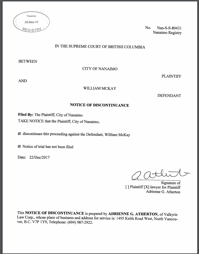 Notice of discontinuance