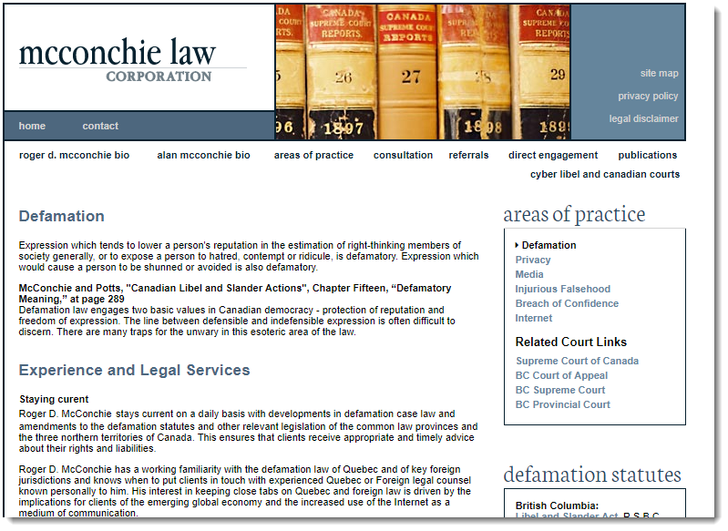 McConchie Law Corporation Website,