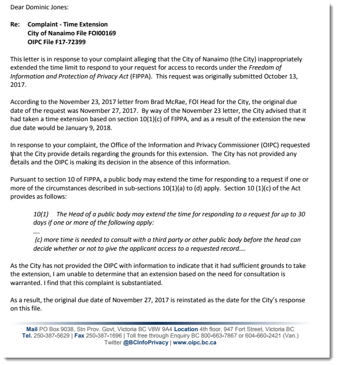 Letter from OIPC reinstating the original deadline