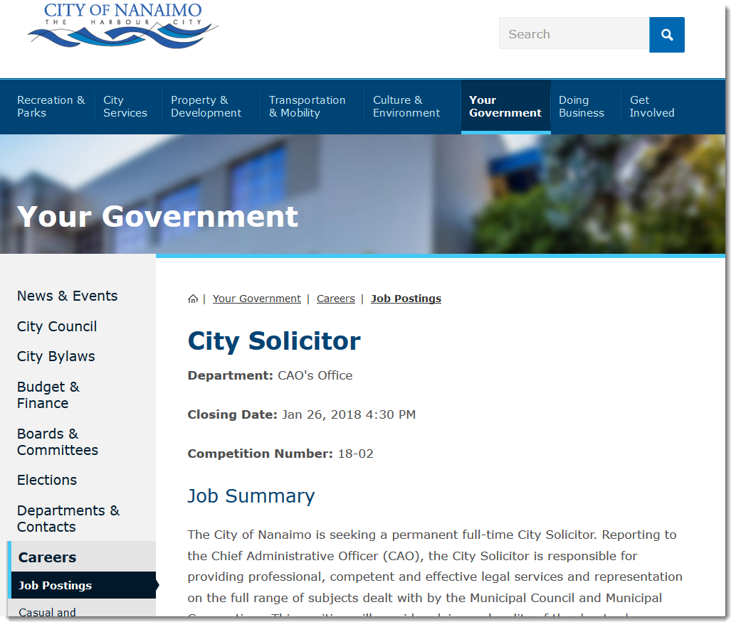 Job posting for new city solicitor for Nanaimo