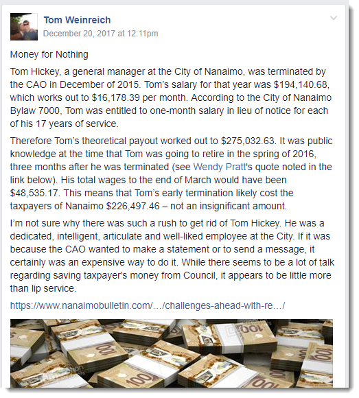 The post about Tom Hickey's severance